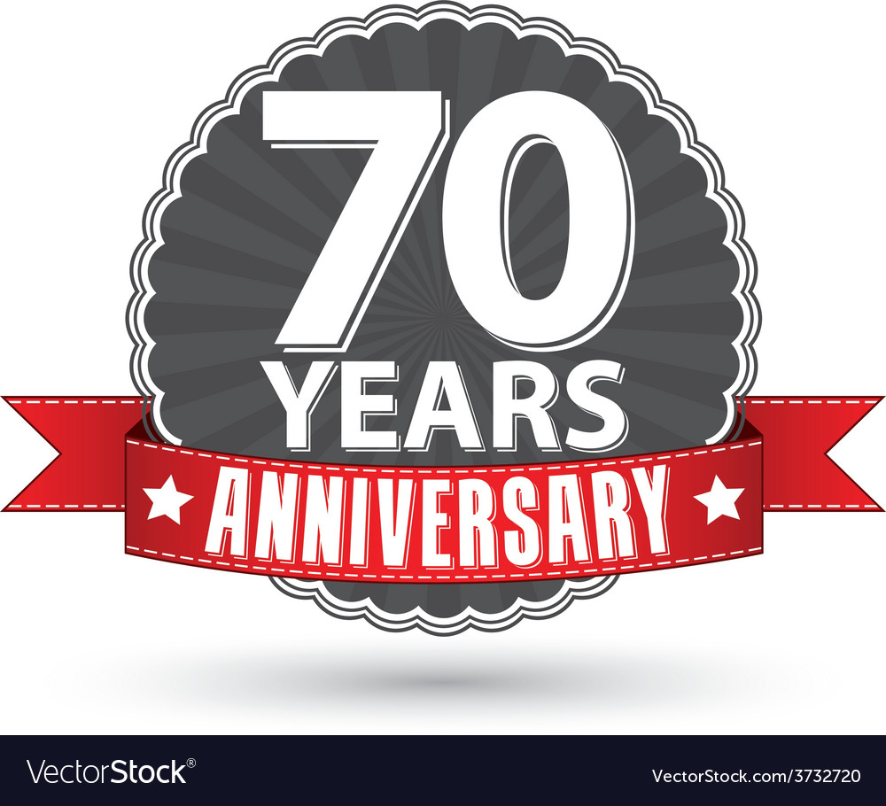 Celebrating 70 years anniversary retro label with vector | Price: 1 Credit (USD $1)