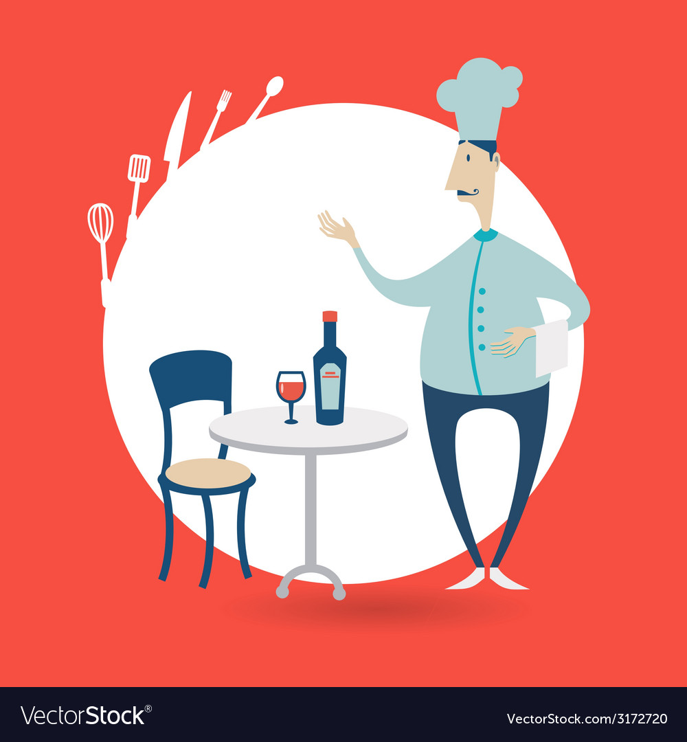 Chef standing at the table in a restaurant vector | Price: 1 Credit (USD $1)