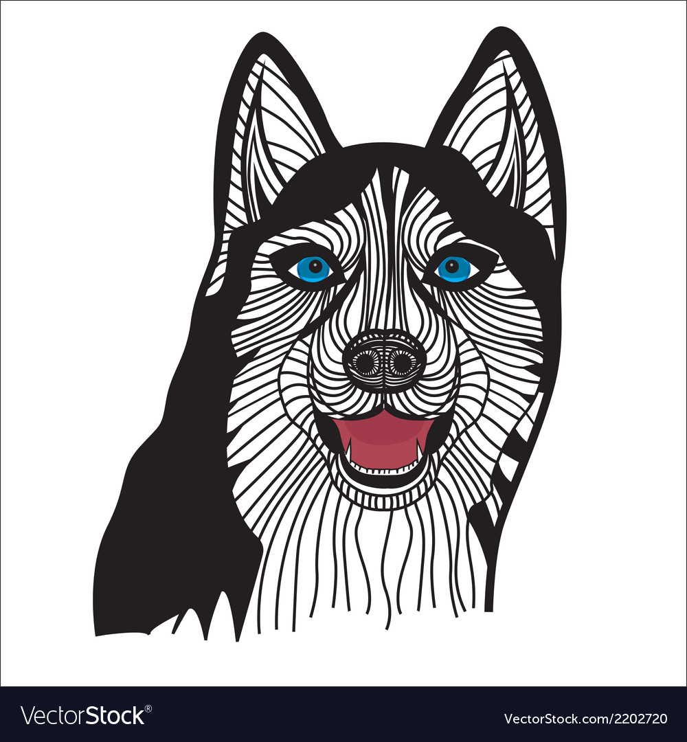 Dog husky head animal vector | Price: 1 Credit (USD $1)