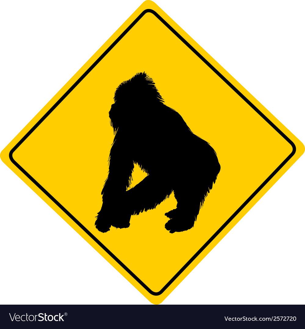 Gorilla warning sign vector   Price: 1 Credit (USD $1)