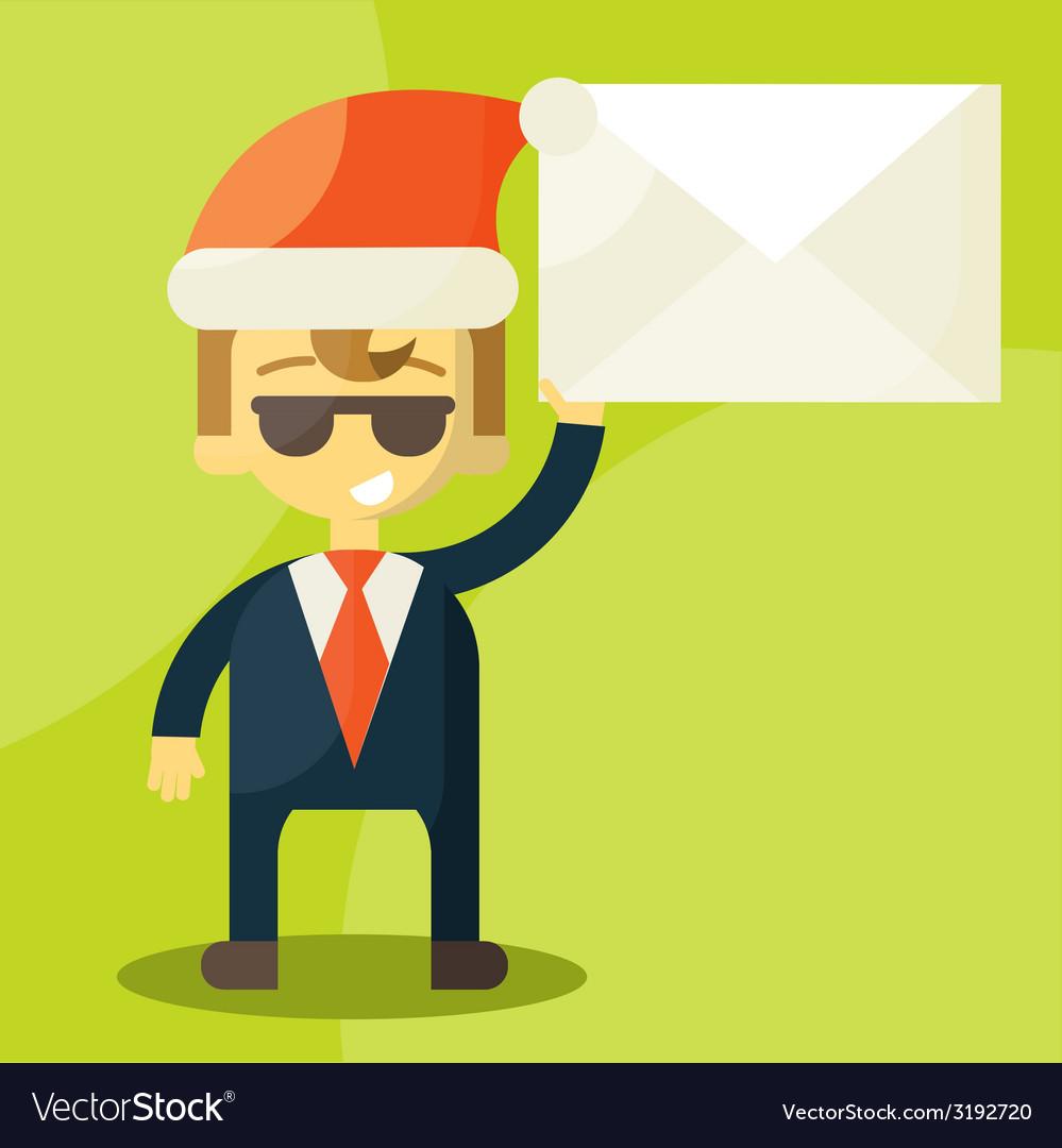 Happy businessman in santa claus hat good credit vector | Price: 1 Credit (USD $1)