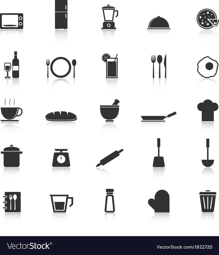 Kitchen icons with reflect on white background vector | Price: 1 Credit (USD $1)