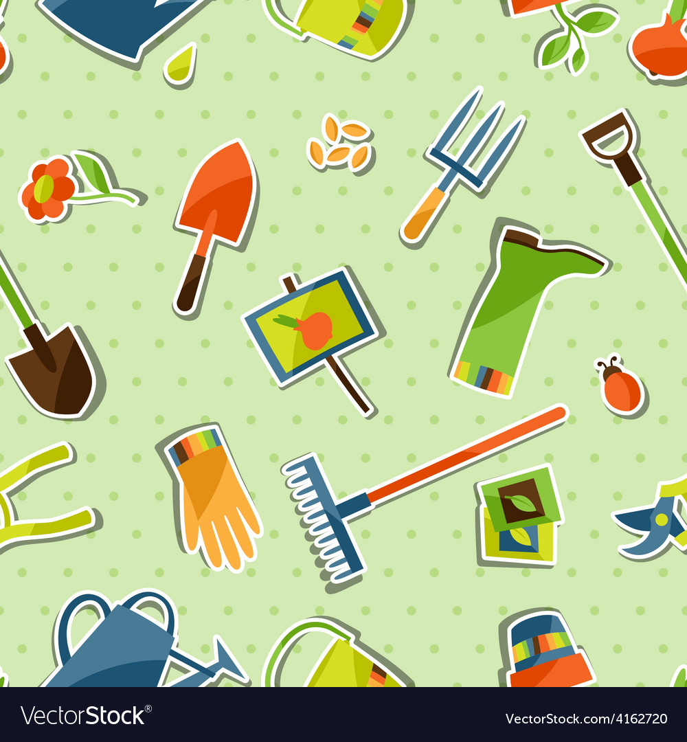 Seamless pattern with garden sticker design vector | Price: 3 Credit (USD $3)