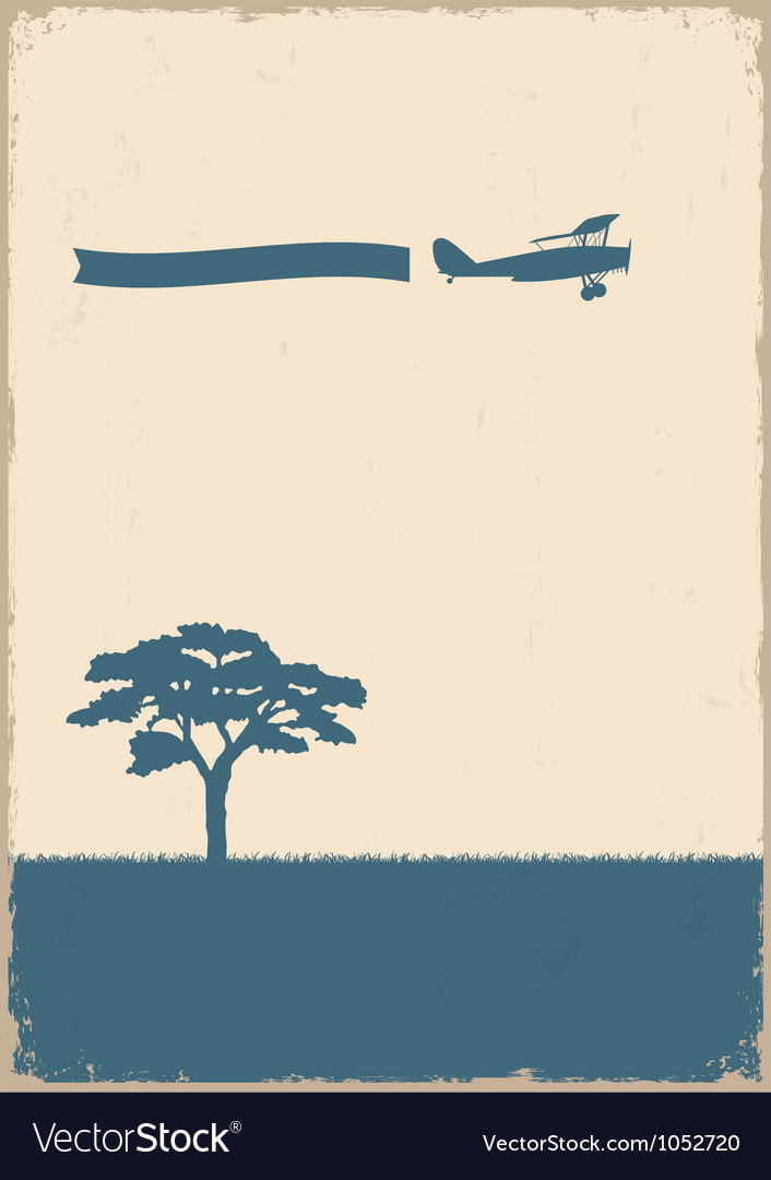Silhouette of tree and old plane vector | Price: 1 Credit (USD $1)