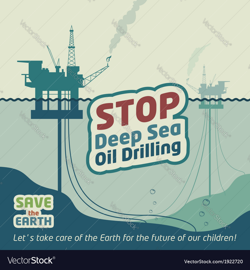 Stop deep sea oil drilling vector | Price: 3 Credit (USD $3)