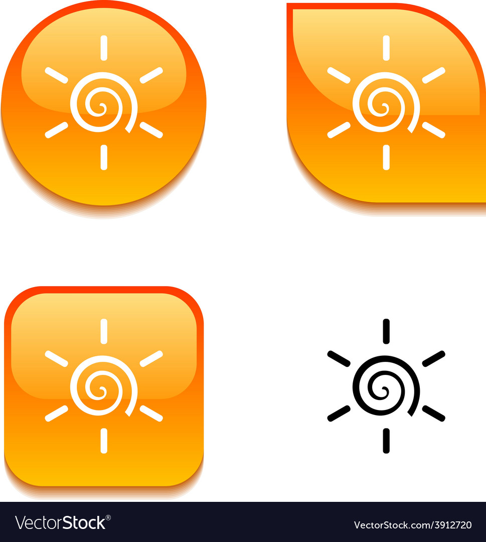 Sun glossy button vector | Price: 1 Credit (USD $1)