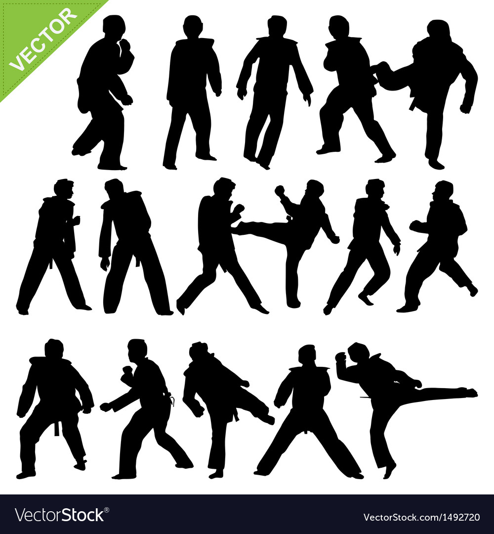 Taekwondo silhouettes vector | Price: 1 Credit (USD $1)