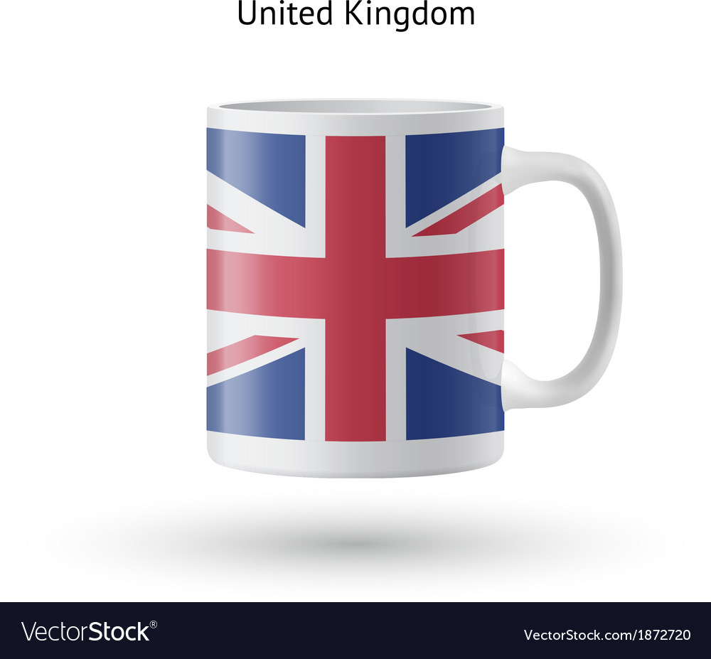 United kingdom flag souvenir mug on white vector   Price: 1 Credit (USD $1)