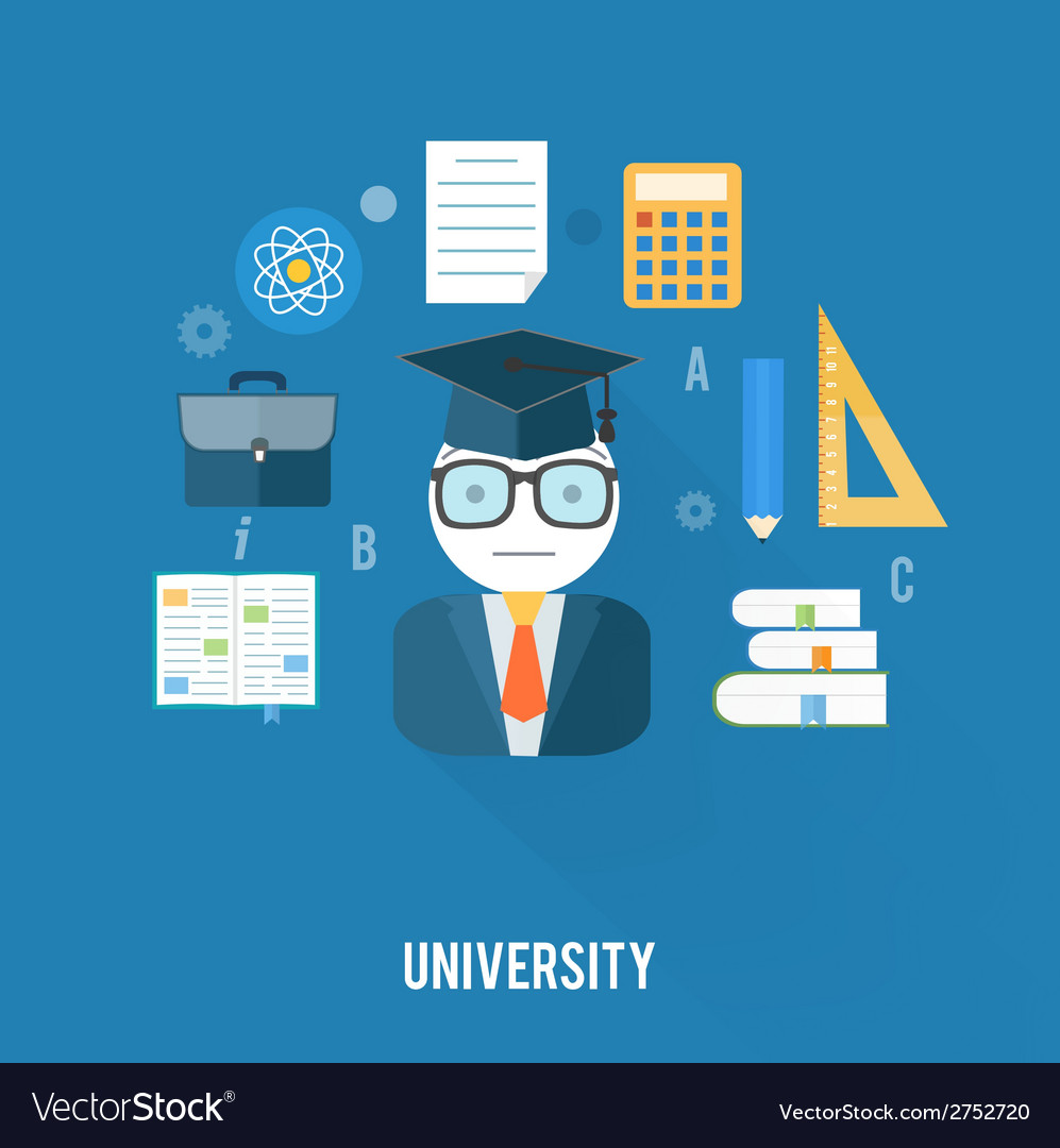 University concept with item icons vector | Price: 1 Credit (USD $1)