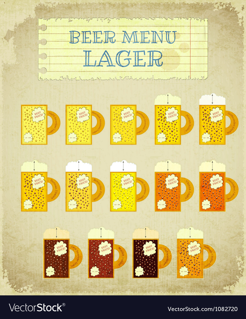 Vintage beer card lager vector | Price: 1 Credit (USD $1)