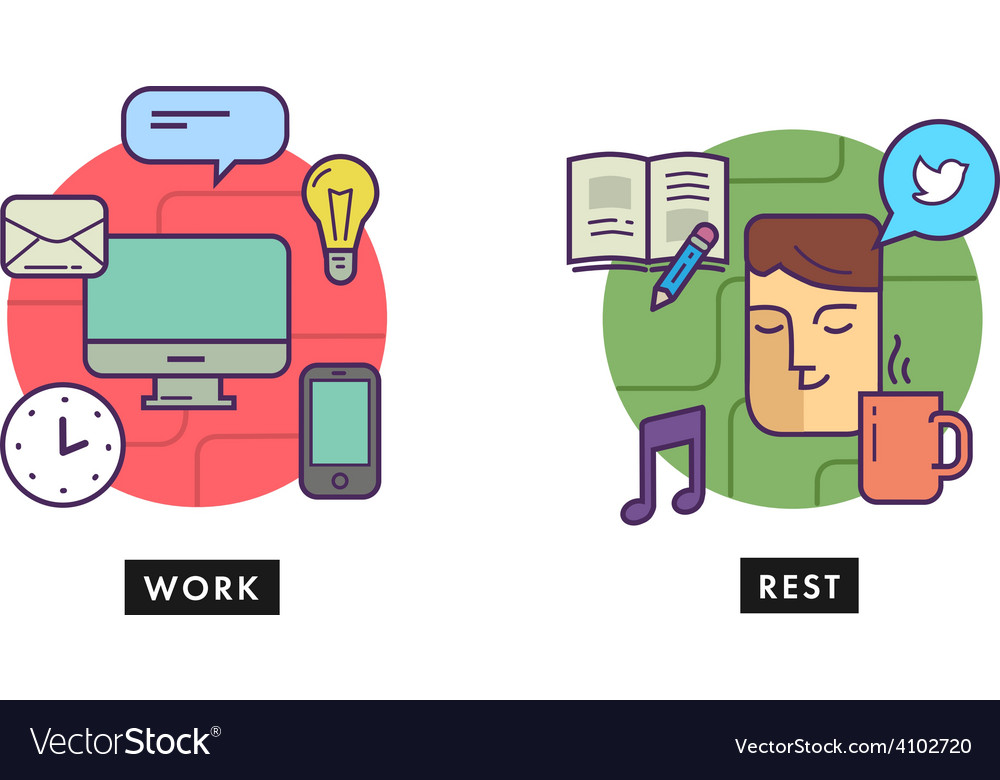 Work and rest office vector | Price: 1 Credit (USD $1)