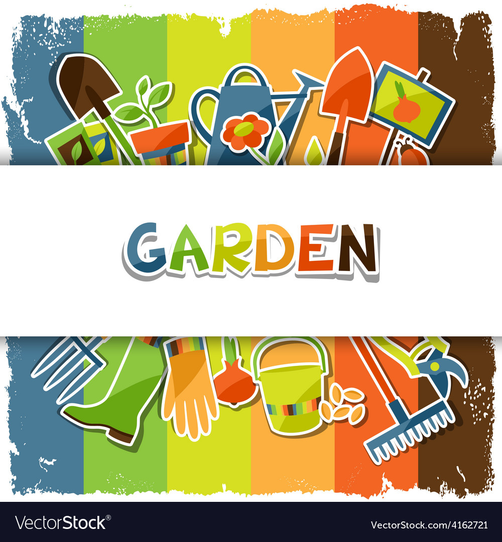 Background with garden sticker design elements and vector | Price: 3 Credit (USD $3)