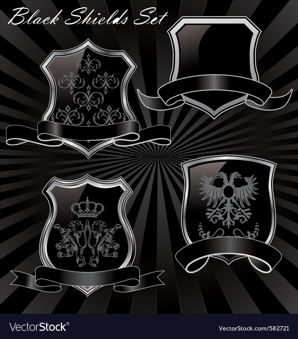 Black shields set vector | Price: 1 Credit (USD $1)