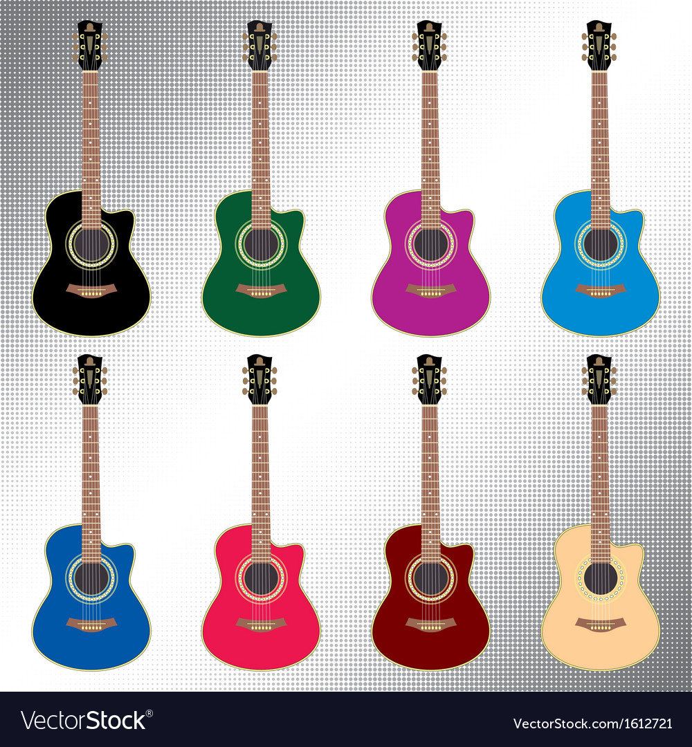 Colored acoustic guitars vector | Price: 1 Credit (USD $1)