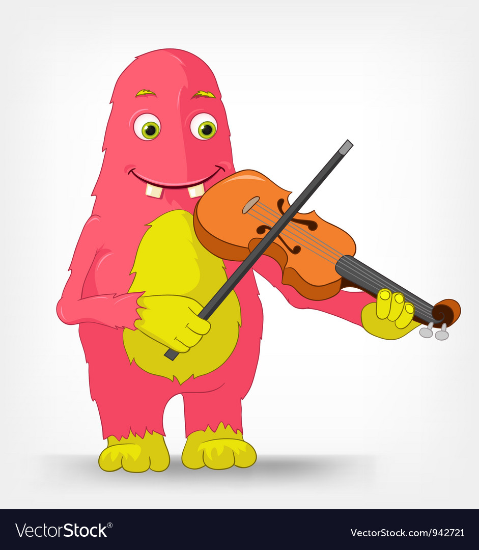 Funny monster violinist vector | Price: 3 Credit (USD $3)