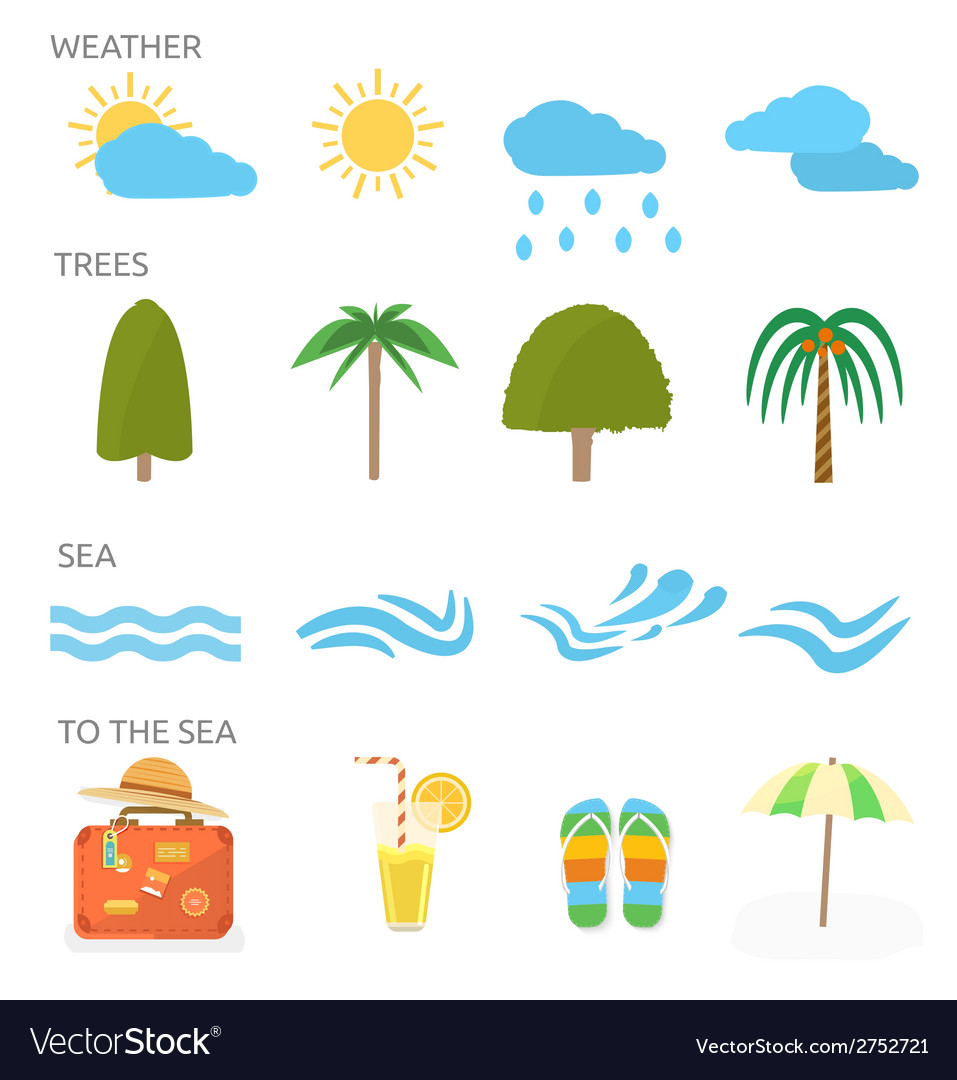 Icons set of traveling and planning vacation vector | Price: 1 Credit (USD $1)