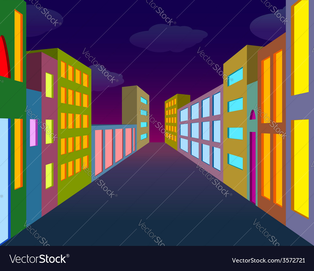 Night city street vector | Price: 1 Credit (USD $1)