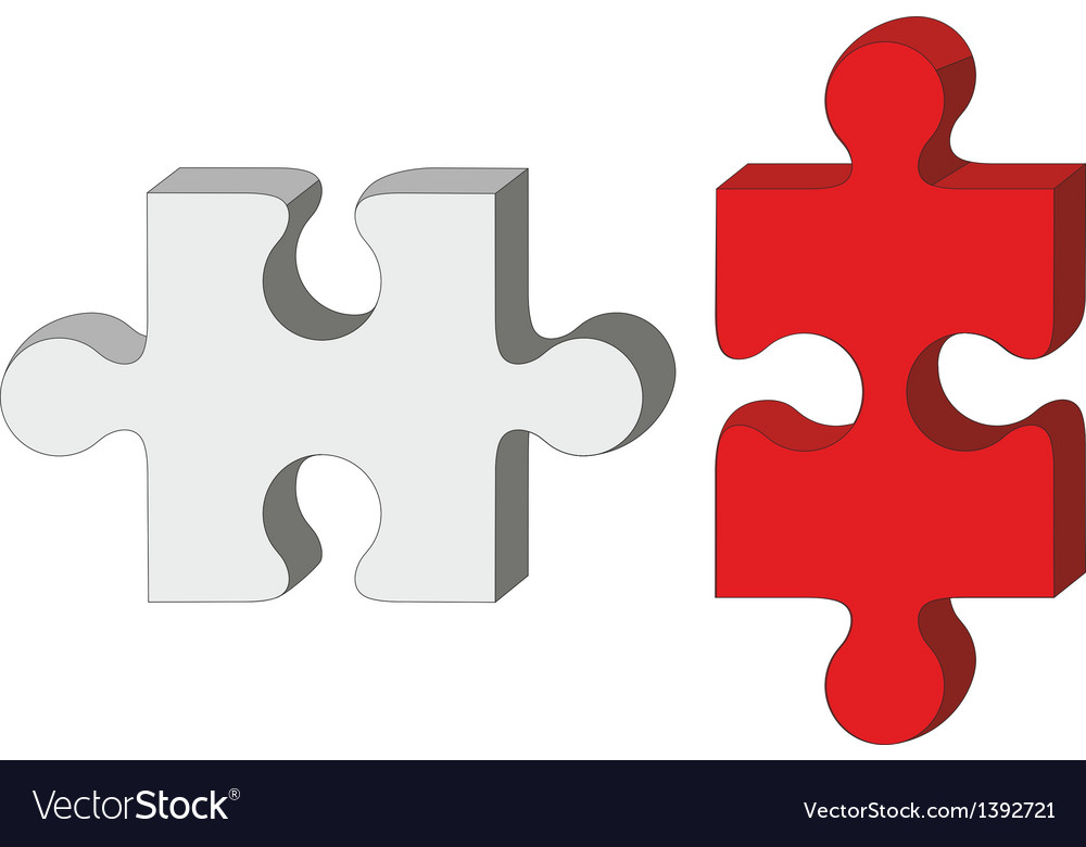 Red white puzzle vector | Price: 1 Credit (USD $1)
