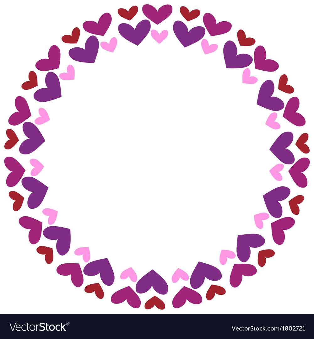 Round frame with hearts vector | Price: 1 Credit (USD $1)
