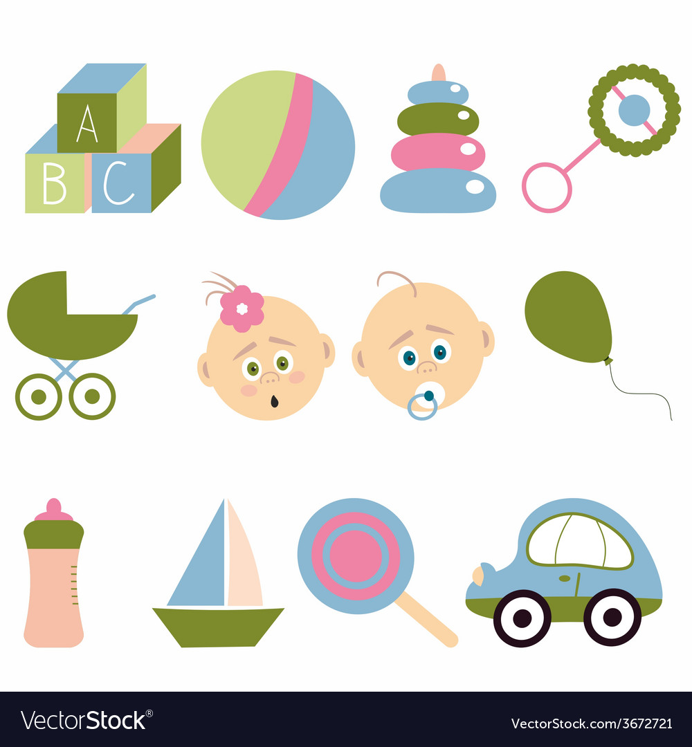 Set of baby icons vector | Price: 1 Credit (USD $1)
