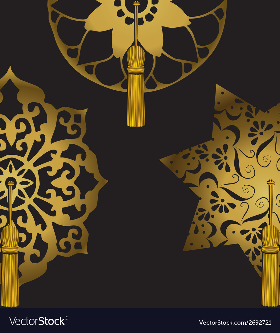 Set of decorative ornaments with tassels vector | Price: 1 Credit (USD $1)