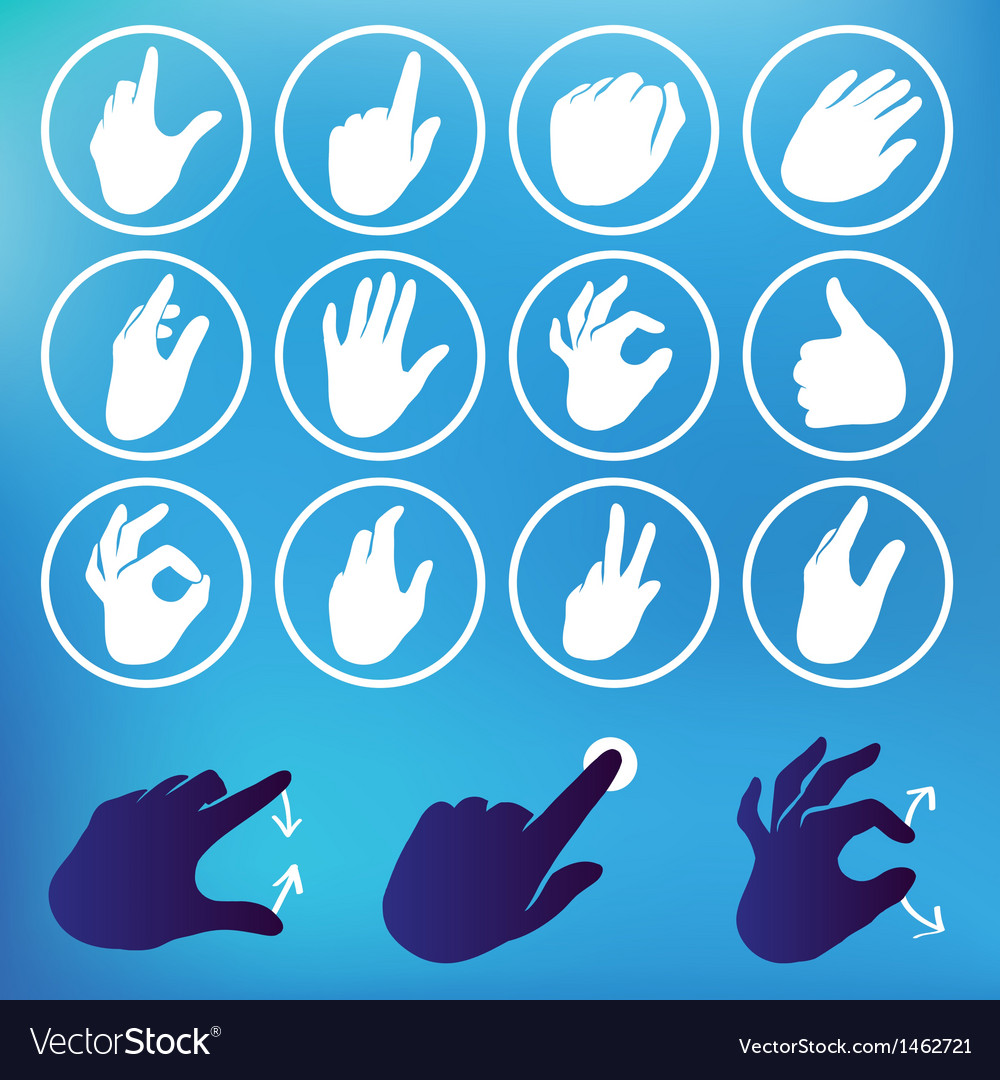 Set of hand icons vector | Price: 1 Credit (USD $1)