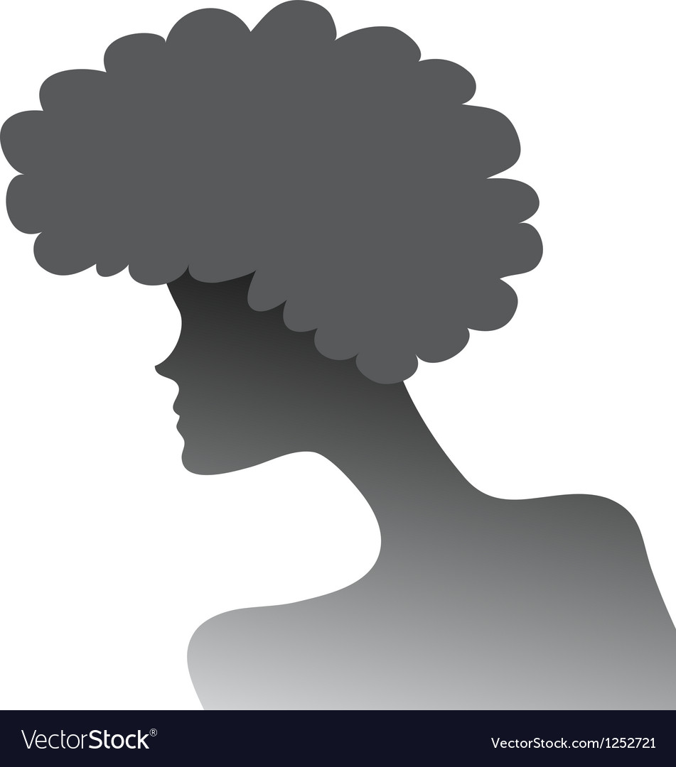 Silhouette of a girl with lush hair in profile vector | Price: 1 Credit (USD $1)