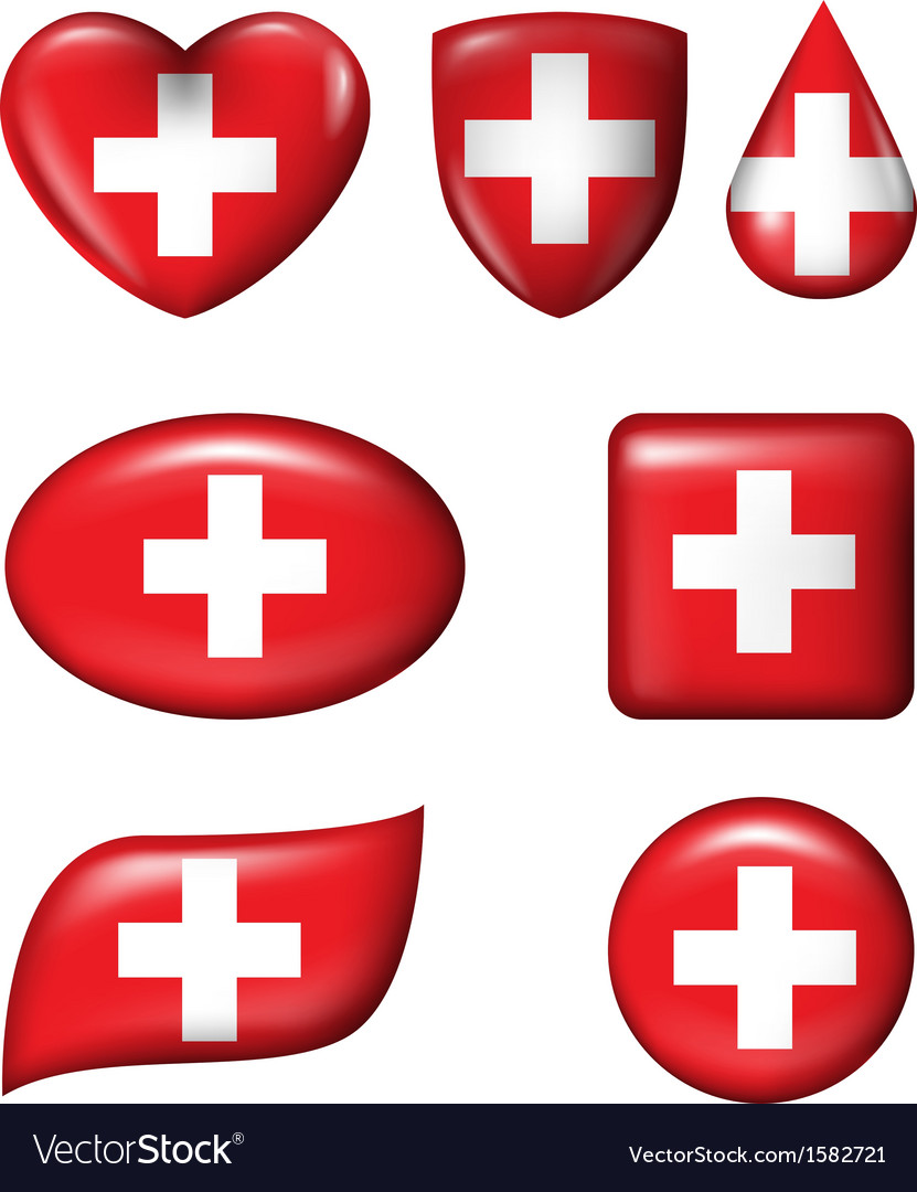 Switzerland flag in various shape glossy button vector | Price: 1 Credit (USD $1)