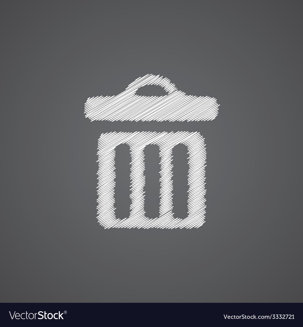 Trash bin sketch logo doodle icon vector | Price: 1 Credit (USD $1)