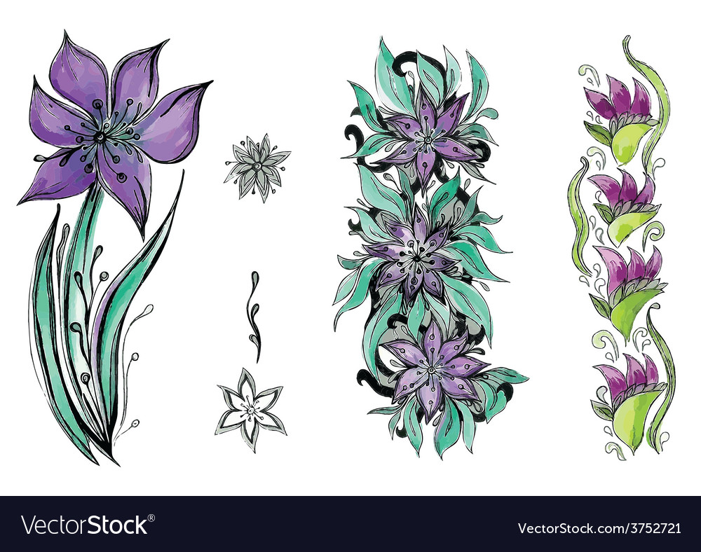 Watercolor beautiful flowers with leaves vector   Price: 1 Credit (USD $1)