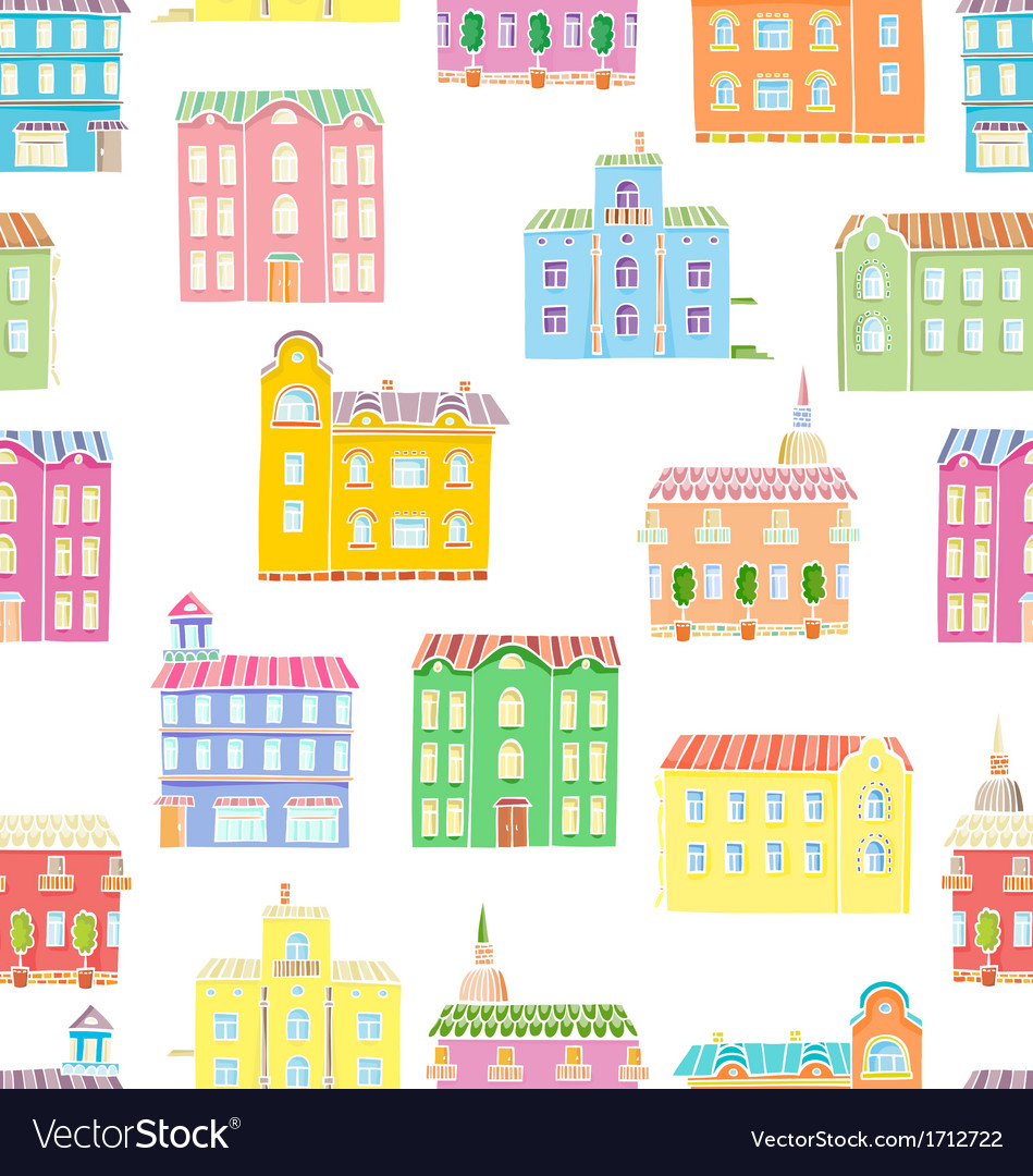 Bright houses pattern vector | Price: 1 Credit (USD $1)