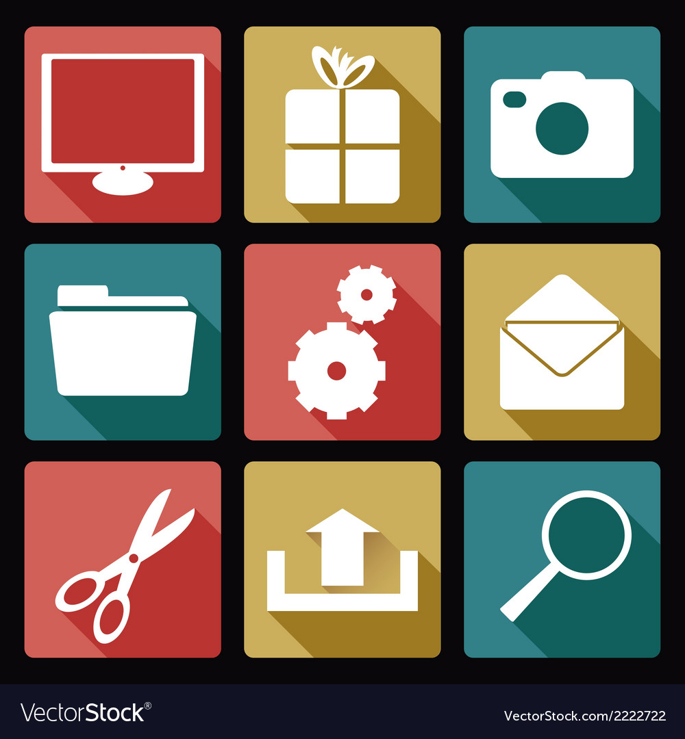 Computer flat icons 2 vector | Price: 1 Credit (USD $1)