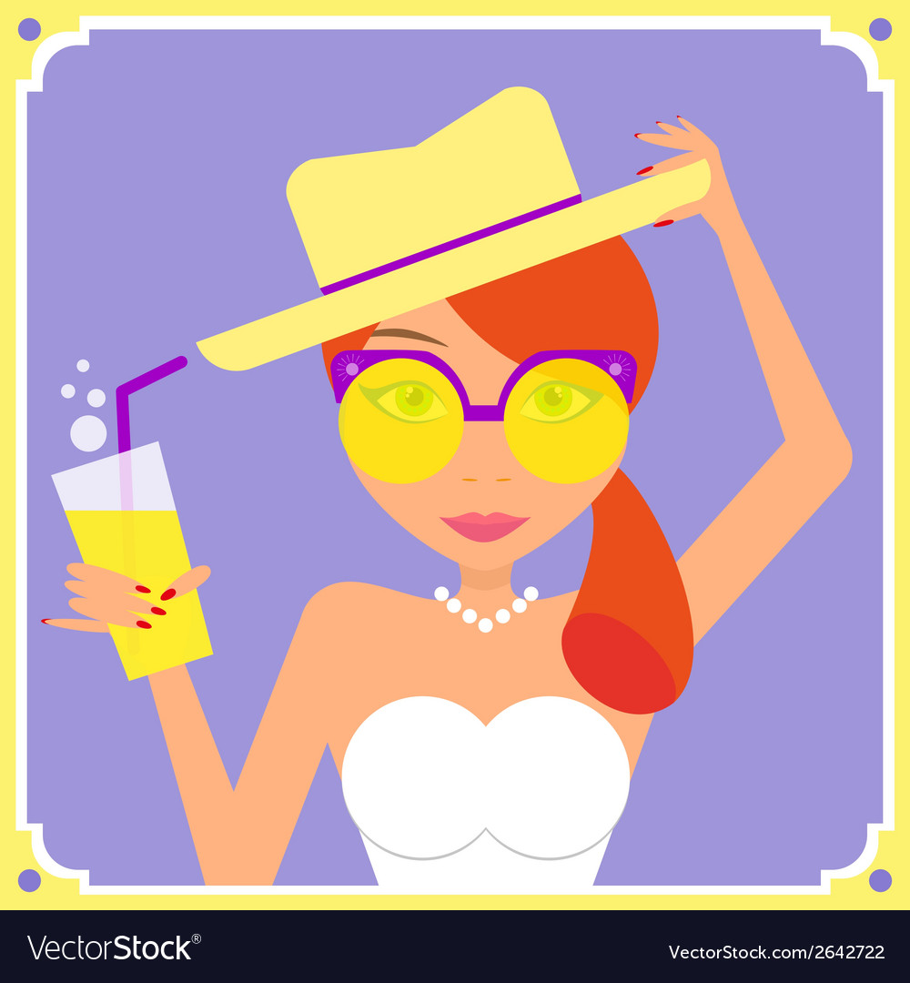 Flat redhair woman wearing yellow retro sunglasses vector | Price: 1 Credit (USD $1)
