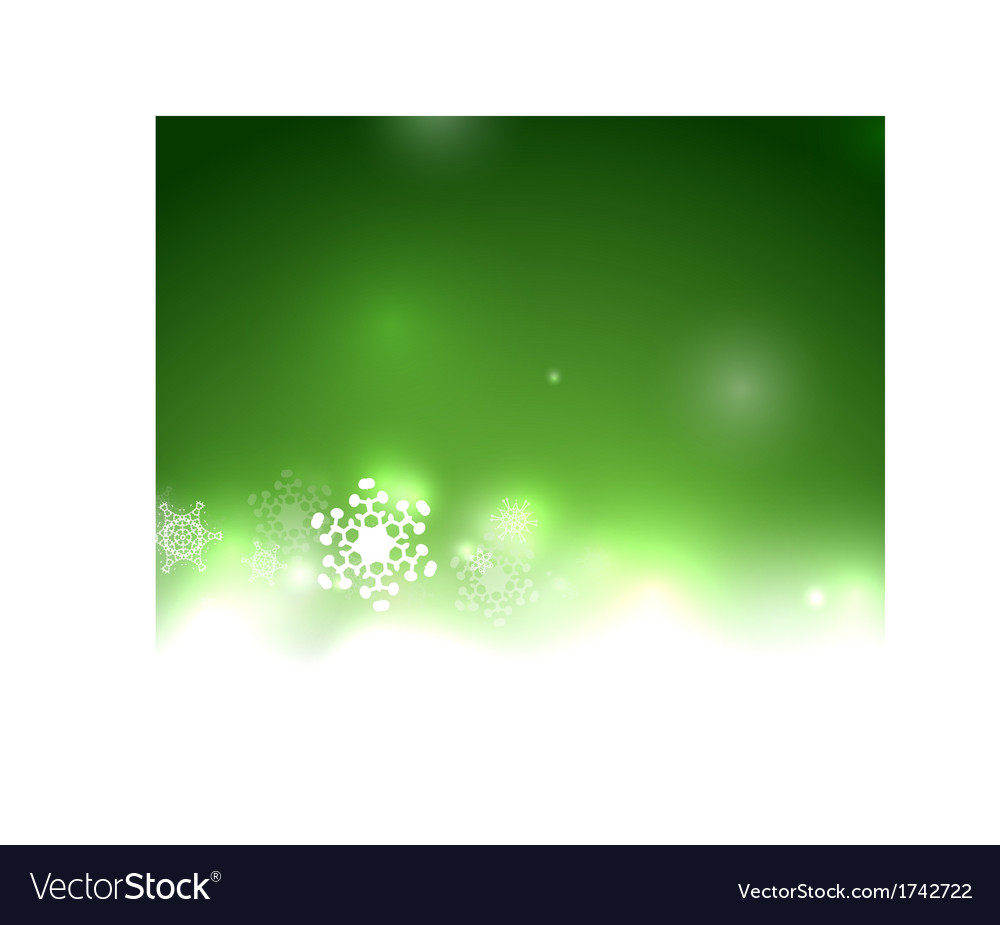 Green christmas card bokeh snowflakes vector   Price: 1 Credit (USD $1)