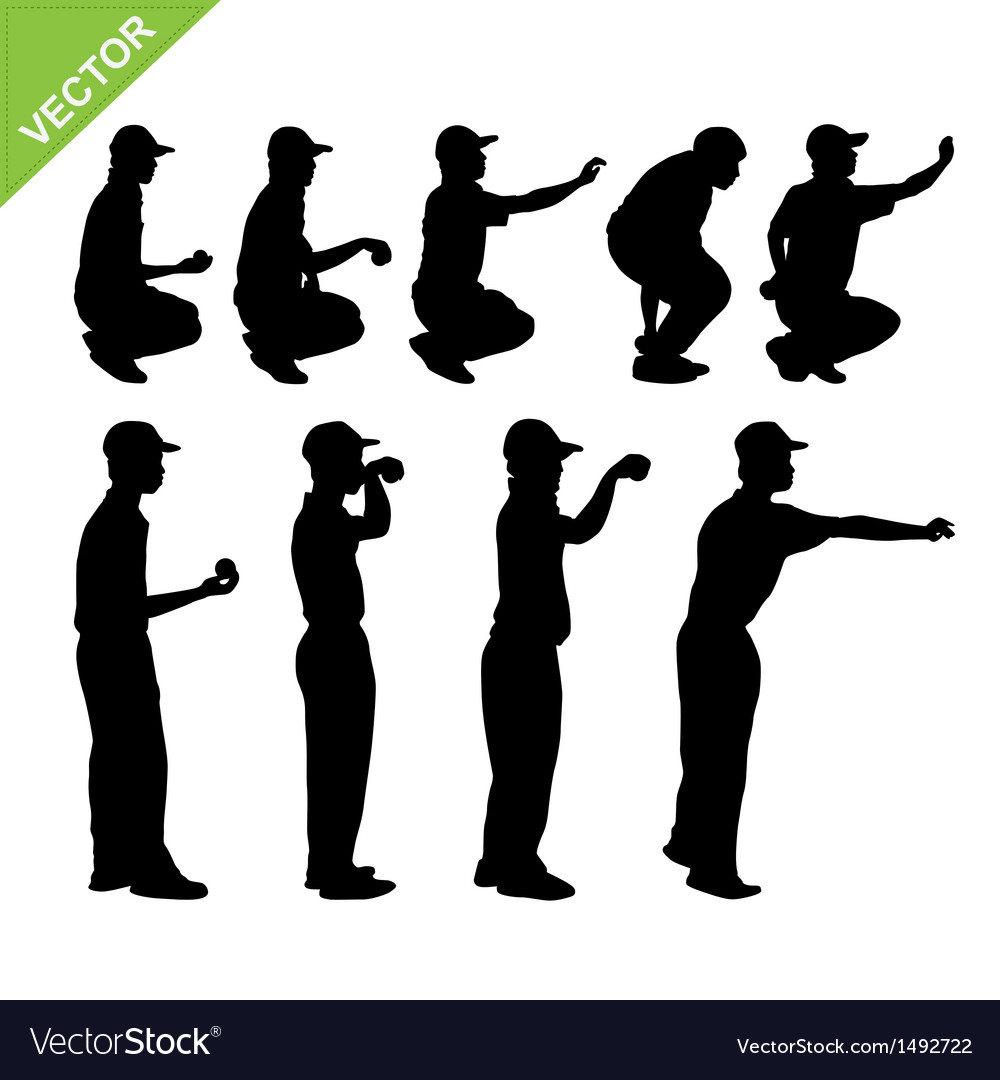 Petanque player silhouettes vector | Price: 1 Credit (USD $1)