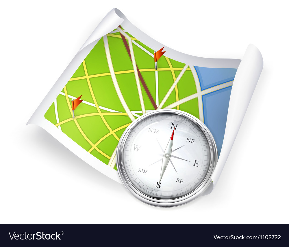 Road map and compass vector | Price: 1 Credit (USD $1)