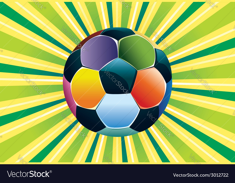 Soccer ball on green background3 vector | Price: 1 Credit (USD $1)