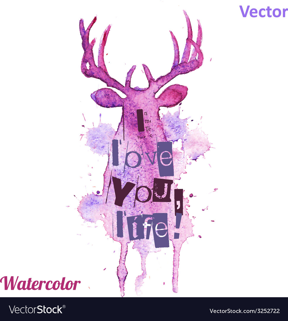 Watercolor deer head with inscriptions on the vector | Price: 1 Credit (USD $1)