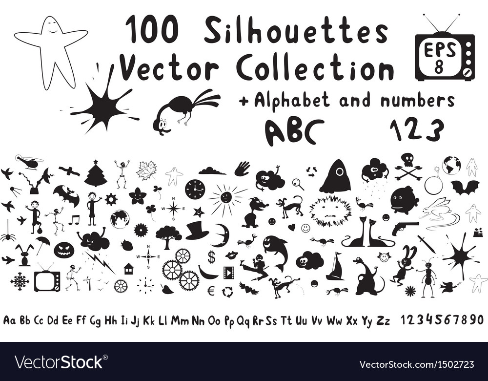 100 funny cartoon silhouettes vector | Price: 1 Credit (USD $1)