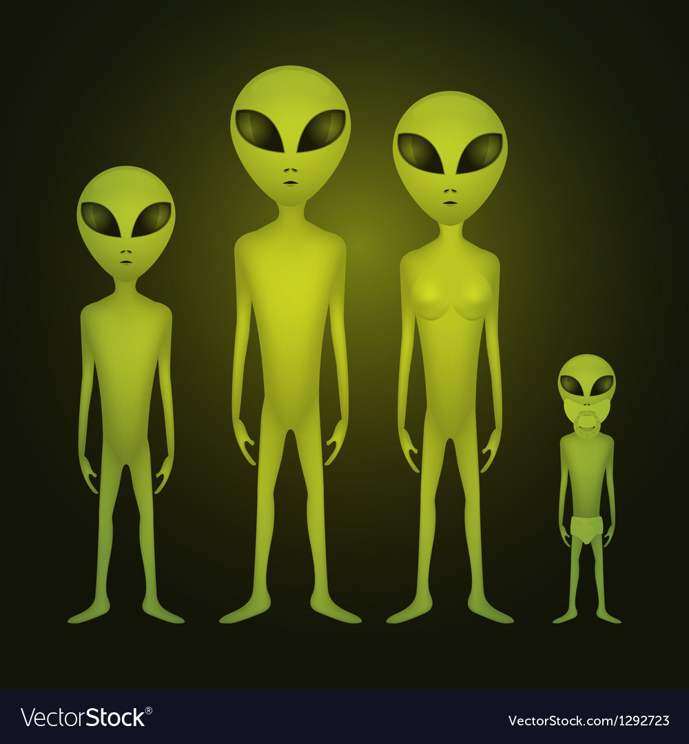 Alien family vector | Price: 1 Credit (USD $1)