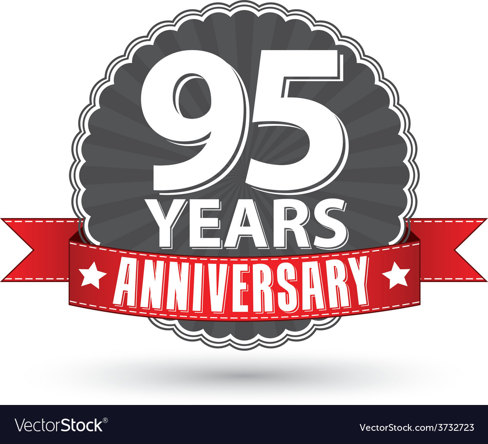 Celebrating 95 years anniversary retro label with vector | Price: 1 Credit (USD $1)