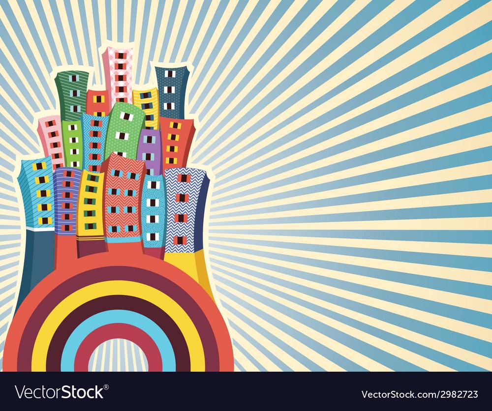 Colorful cityscape vector   Price: 1 Credit (USD $1)