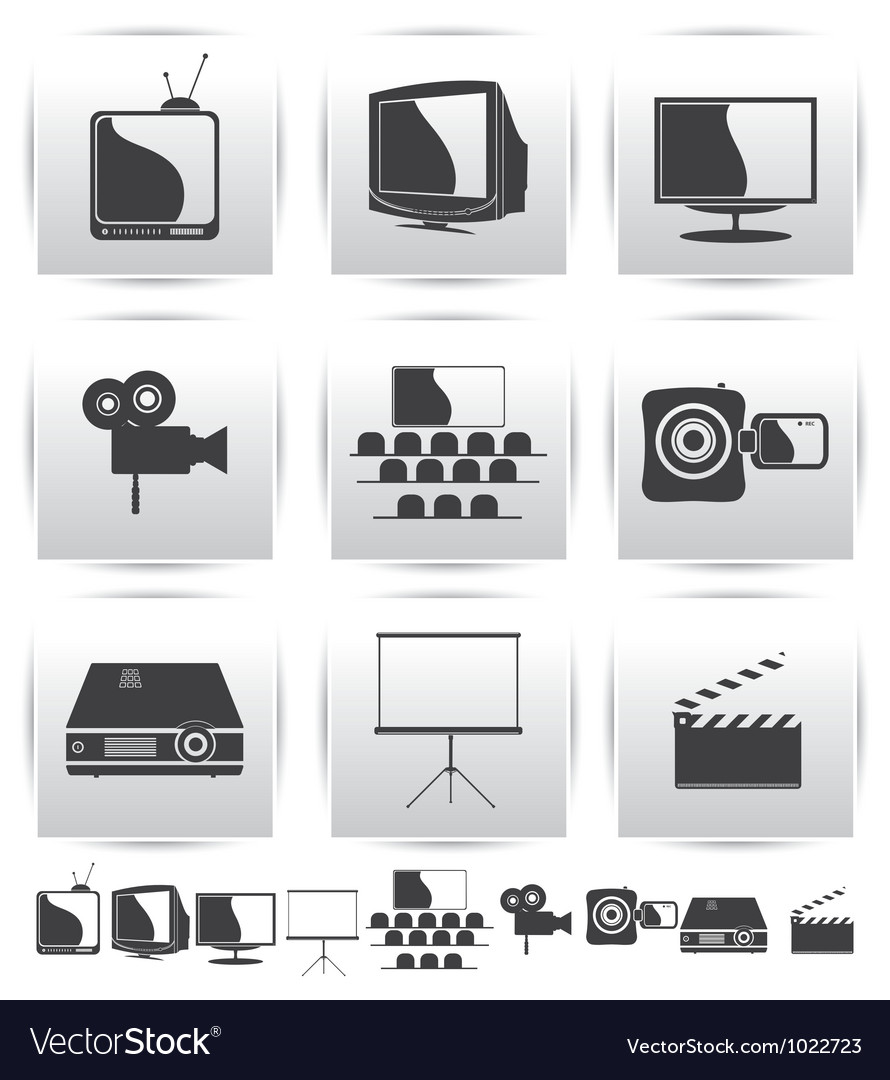 Movie icons film and square gray vector | Price: 1 Credit (USD $1)