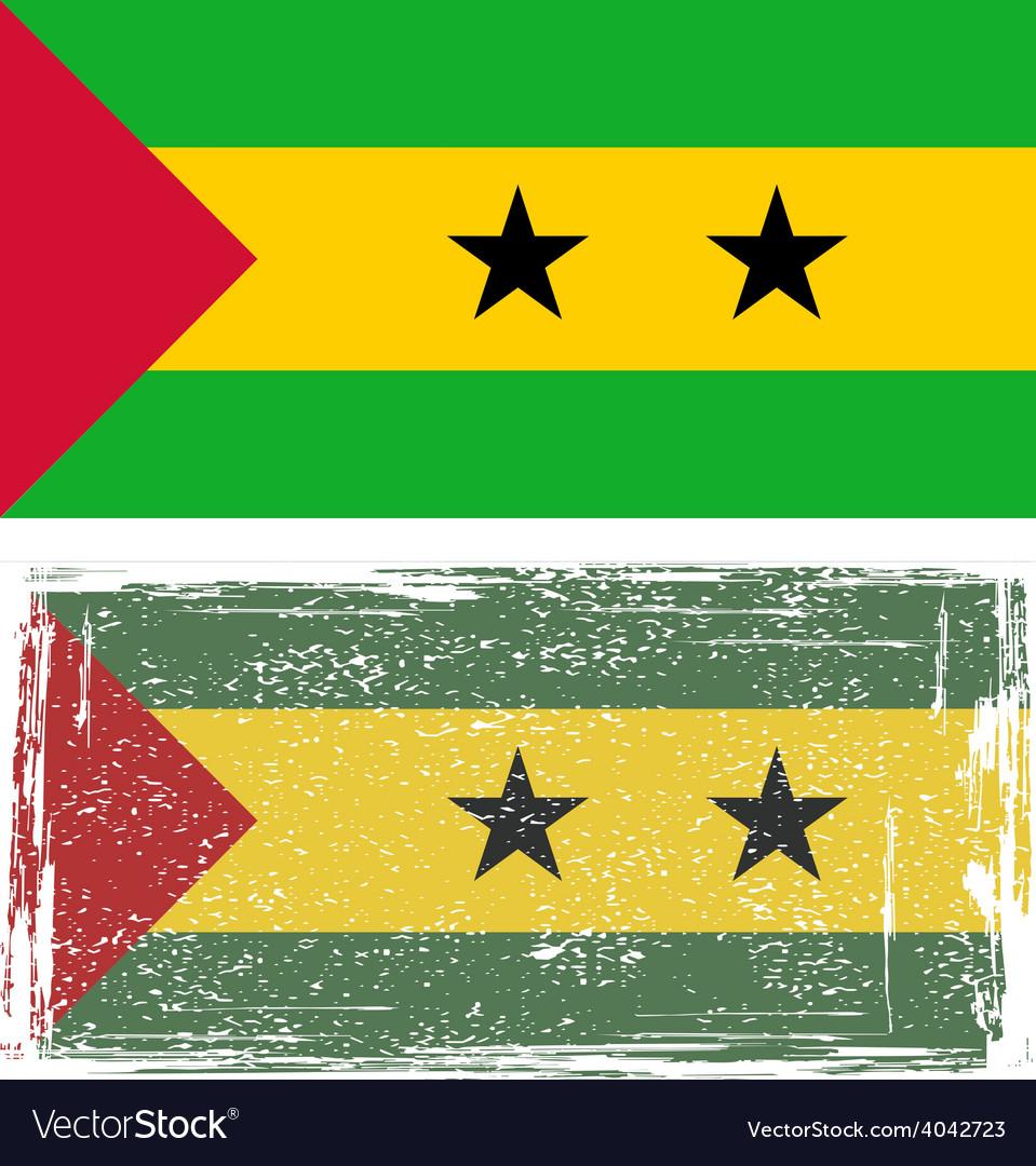 Sao tome and principe grunge flag vector | Price: 1 Credit (USD $1)