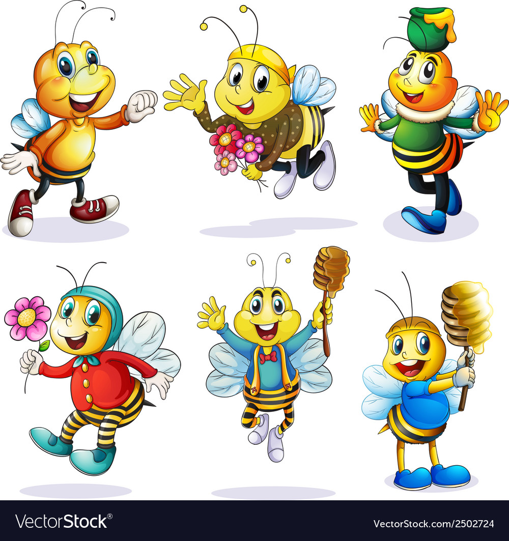 A group of happy bees vector | Price: 1 Credit (USD $1)