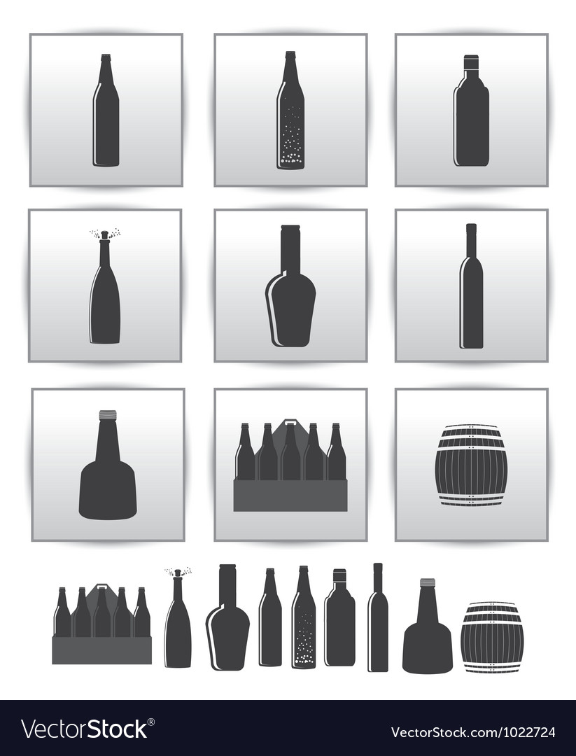 Alcoholic drinks icon square gray set vector | Price: 1 Credit (USD $1)