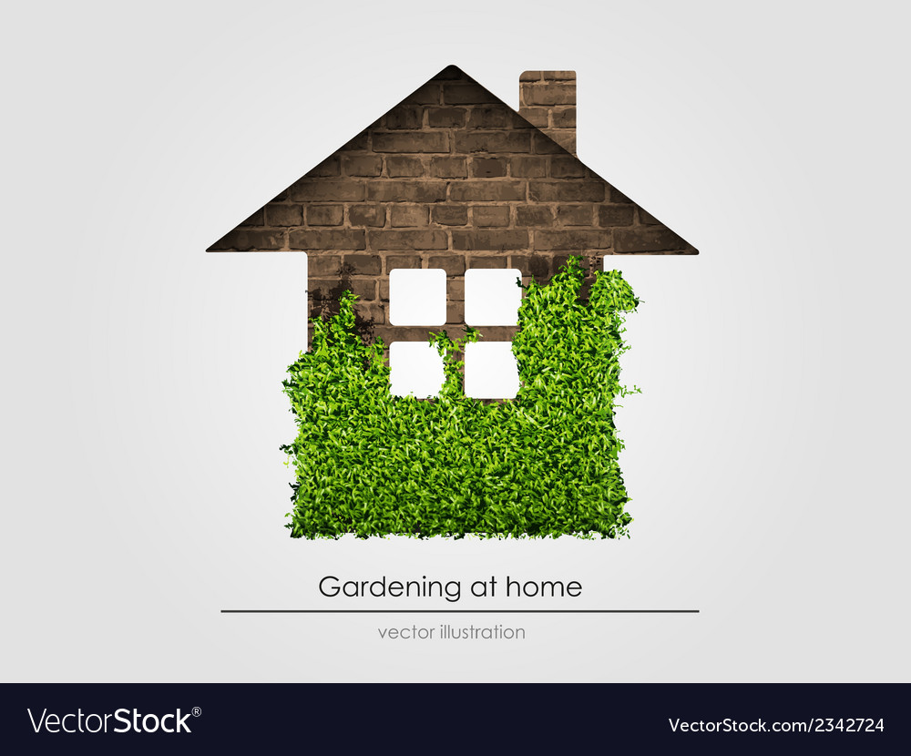 Brick house with grass vector | Price: 1 Credit (USD $1)
