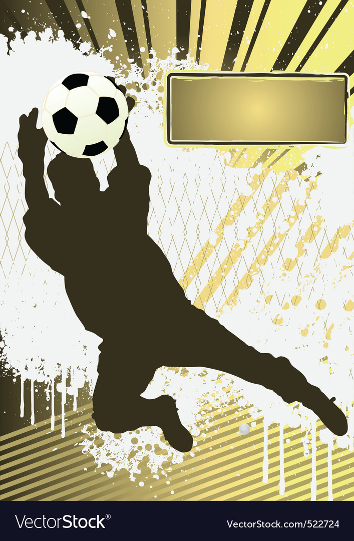 Football grunge poster template with soccer player vector | Price: 1 Credit (USD $1)