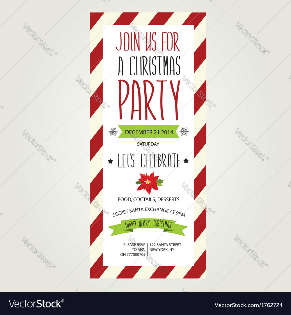 Invitation merry christmastypography vector