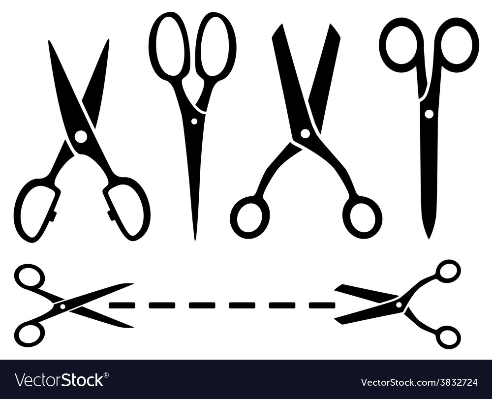 Many isolated scissors set vector | Price: 1 Credit (USD $1)